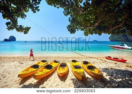 Traveler On The Beach In Thailand