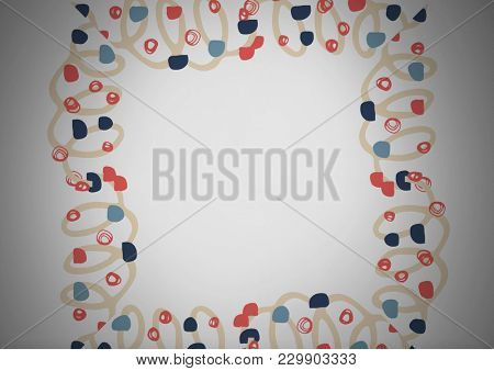 Digital composite of grey background with colorful squiggly pattern