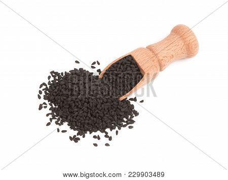 Nigella Sativa , Black Cumin, Seeds Isolated On White Background