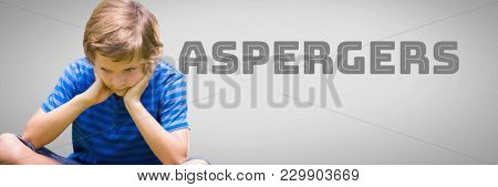 Digital composite of Boy against grey background with asperger's text