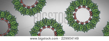 Digital composite of Grey background with holly boughs