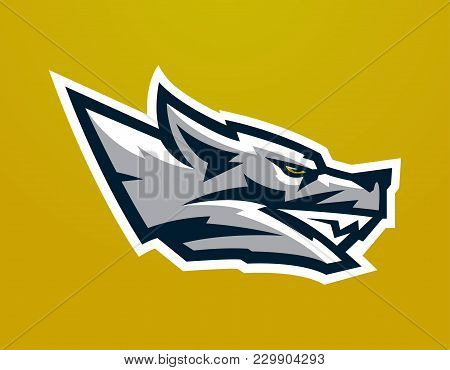 Logo, Mascot Of Aggressive Wolf Ready To Attack. Grin Predator, Dangerous Beast. Identity For The Sp