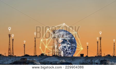 Telecommunication Towers With Global Network Connection, And Location Sign Symbol. Element Of This I