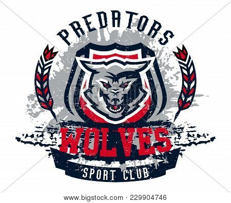 Design For Printing On T-shirts, Aggressive Wolf Ready To Attack. Predator Of The Forest, Dangerous