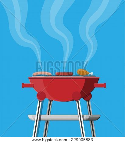 Round Barbecue Grill. Bbq Icon. Electric Grill. Chicken Leg, Meat Steak And Sausage. Device For Fryi