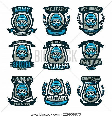 A Set Of Colored Emblems, Logos, A Skull In A Military Helmet And A Gas Mask. Military Actions, Conf