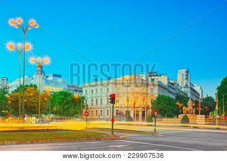 Square Of Cibeles (plaza  Cibeles) And View On House Of America(