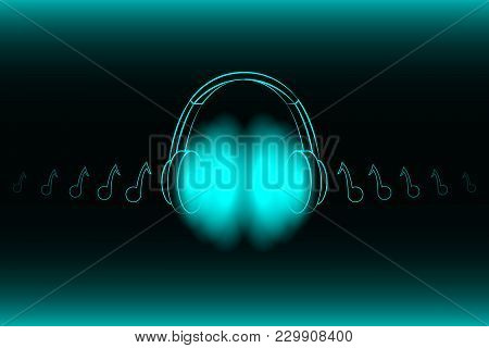 Bright Glowing Neon Headphones Isolated On Blue Background, Music Concept. Banner. Low Poly Illustra