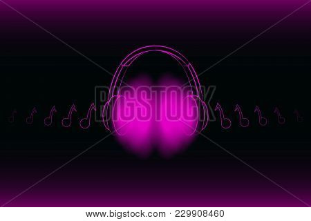 Bright Glowing Neon Headphones Isolated On Pink Background, Music Concept. Banner. Low Poly Illustra