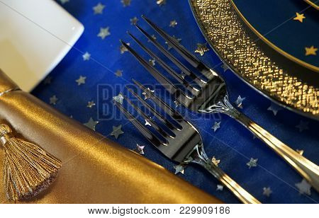 The Dish And Fork On The Table In The Room Spectacle Of Tableware