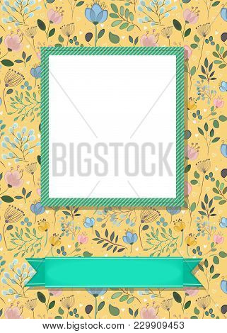 Floral Greeting Card. Graceful Watercolor Flowers And Plants. Green Frame For Custom Photo. Green Ba