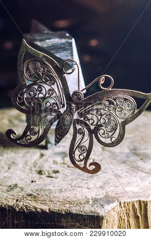 The Work Of Jewelers. Trial Jewelry Of Semiprecious Metals. Butterfly Decoration. Selective Focus. M