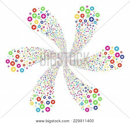 Multi Colored Create Cycle Flower Cluster. Suggestive Burst Created From Random Create Symbols. Vect