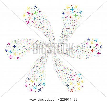 Multicolored Crossing Swords Swirl Flower With Six Petals. Hypnotic Flower With Six Petals Organized