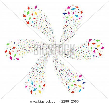 Multicolored Cursor Arrow Centrifugal Abstract Flower. Suggestive Centrifugal Explosion Created From