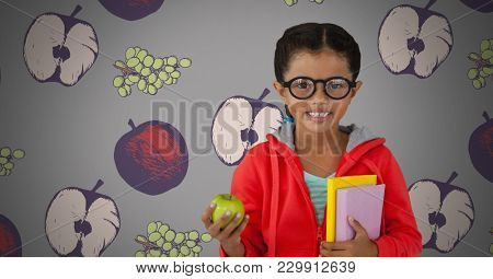 Digital composite of Girl against grey background with apple and books and glasses and fruit illustrations