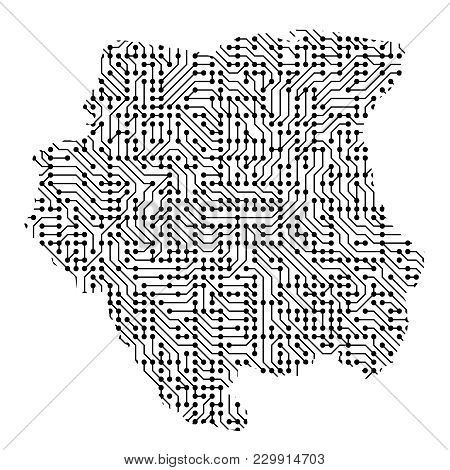 Abstract Schematic Map Of Suriname From The Black Printed Board, Chip And Radio Component Of Vector