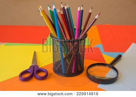 Colored Pencils On The Whole Picture. Bright Colored Pencils. Colored Pencils Macro