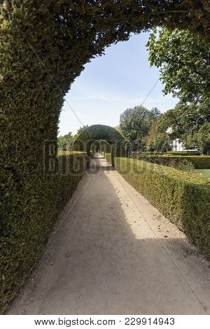 Vila Real, Portugal - September 22, 2017: Gallery Of Tailored Boxwood Hedges And Arches In The Garde