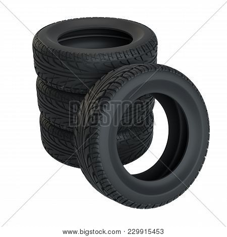 Car Tires Isolated On White. 3d Illustration
