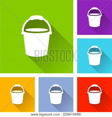 Illustration Of Bucket Icons With Long Shadow