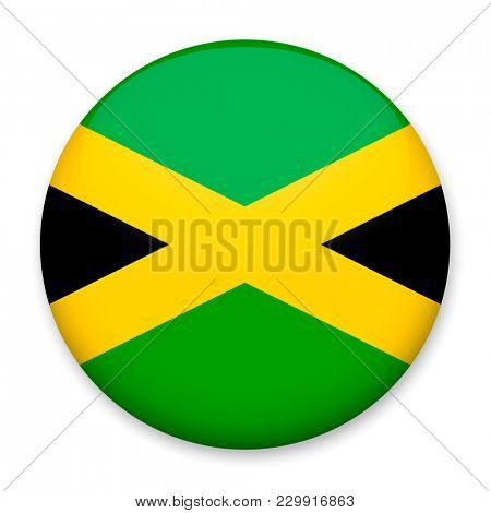 Flag of Jamaica in the form of a round button with a light glare and a shadow.