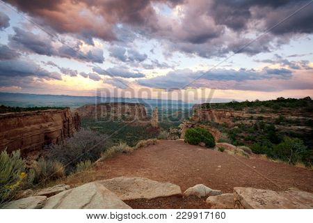 Scenic view of mountains at Colorado National Monument Park at sunrise, USA, Colorado state
