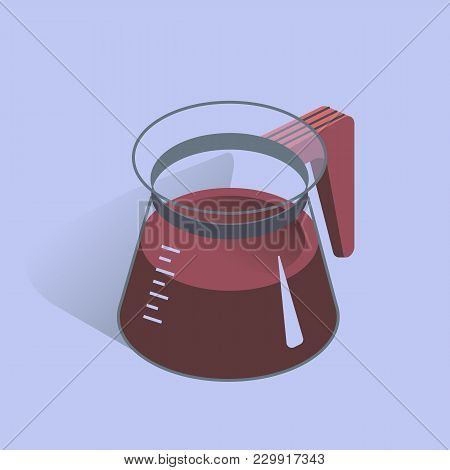 Vector Illustration With 3d Coffee Pot. Coffee Container In Isometric Flat Style. Vector Illustratio