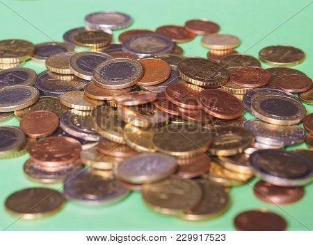 Euro Coins, European Union Selective Focus