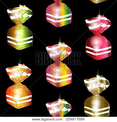 Seamless Pattern Of Colorful Wrapped Sweets On A Black Background. Vector Illustration