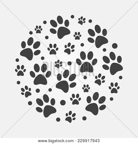 Dark Dog Footprints Round Vector Illustration. Cat Or Dog Footprints In Circle Shape Simple Symbol