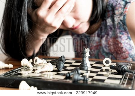 The Loser Women Sad After  Fighting The Chess, Committed, Competition, Winner, Successful, Dedicate