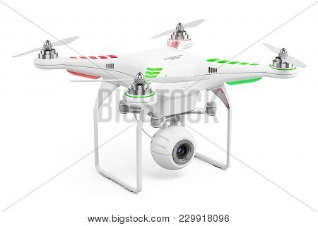 Drone Quadcopter Isolated On Whitye Background 3d