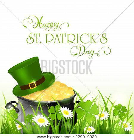 Happy Patricks Day And Green Hat With Gold Of Leprechauns In Grass