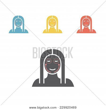 Cosmetic Surgery Icon. Woman Face. Vector Flat Cartoon Illustration