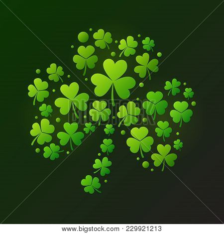 Bright Vector Shamrock Made Of Green Clover Icons