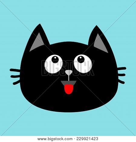Black Cat Head Face Icon Looking Up. Red Tongue. Surprised Emotion. Cute Cartoon Character. Pet Baby