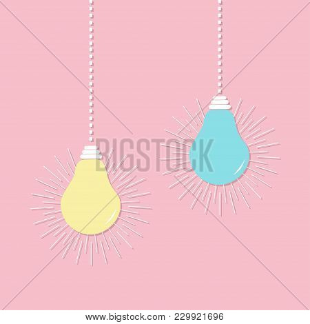 Hanging Light Bulb Icon Set. Switch On Off Lamp. Idea Text Inside. Shining Effect. Dash Line. Pastel