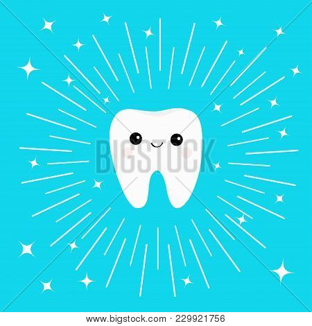 Healthy White Tooth Icon With Smiling Face. Cute Cartoon Character. Round Line Circle. Oral Dental H