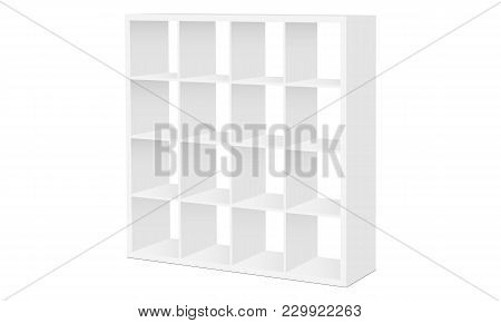 Shelving Stand Mockup Isolated On White Background - Half Side View. Vector Illustration