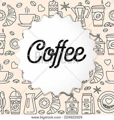 Coffee Line Icons Seamless Pattern. Hot Drinks Flat Line Icons - Coffeemaker Machine, Beans, Cup, Gr