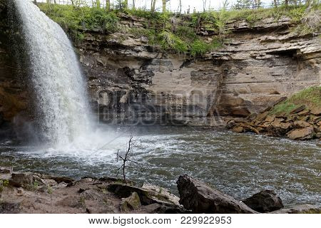 The Lower Portion Of Minneopa Falls And The Pool It Empties Into