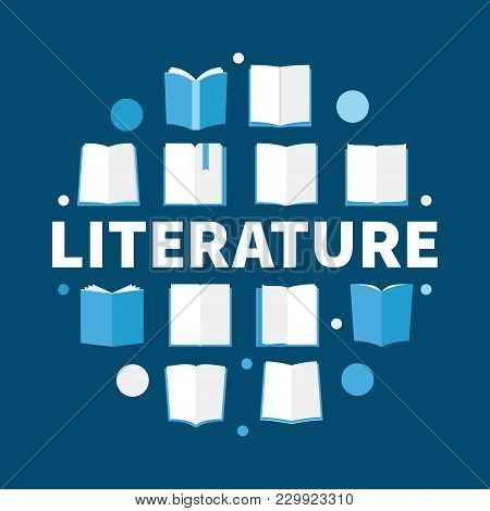 Literature Round Flat Vector Illustration - Modern Symbol Made With Book Icons And Word Literature
