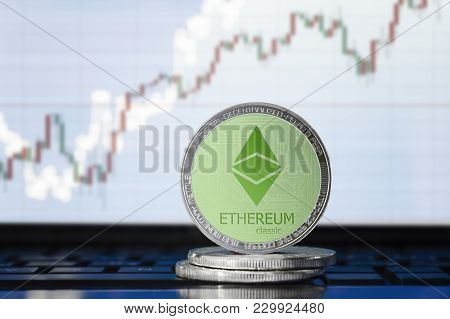 Ethereum Classic (etc) Cryptocurrency; Physical Concept Ethereum Classic Coin On The Background Of T