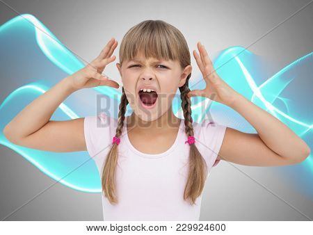 Digital composite of Girl against grey background screaming frustrated and angry and wave levels