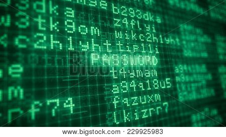 Pixelated Green Computer Monitor With Random Text And The Word: Password Highlighted, Concept Of Dat