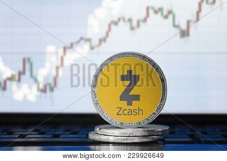 Zcash (zec) Cryptocurrency; Physical Concept Zcash Coin On The Background Of The Chart