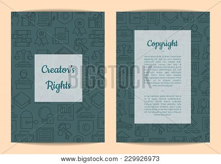 Vector Linear Style Copyright Elements Card Or Flyer Template With Half Transparent Rectangles With