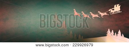 Digital composite of Christmas transition of Santa's sleigh and reindeer's