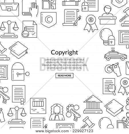 Vector Linear Style Copyright Elements With Place For Text In Form Of Circle Background Illustration